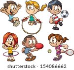 Cartoon kids playing. Vector clip art illustration with simple gradients. Each on a separate layer.