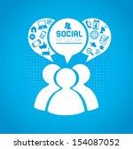 social network icons over blue... | Shutterstock .eps vector #154087052