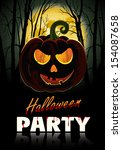 halloween party poster with... | Shutterstock .eps vector #154087658