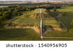 The largest earthen mound in North America, aerial view of Monk
