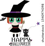 little kawaii witch is ready to ... | Shutterstock .eps vector #1540974398