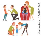 loving parents and their kids... | Shutterstock .eps vector #1541001062