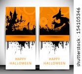 happy halloween flyers or... | Shutterstock .eps vector #154105346