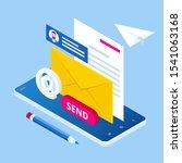 isometric email inbox...   Shutterstock .eps vector #1541063168