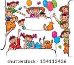 kids standing behind placard | Shutterstock .eps vector #154112426