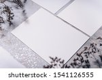 Mockup Greeting Cards On A Grey ...