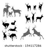 A set of deer silhouettes including fawn, doe bucks and stags in various poses. Also a family group pose and two stags fighting