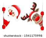 Santa Claus And Reindeer With...