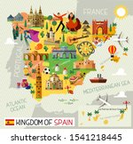 map of spain and travel icons...   Shutterstock .eps vector #1541218445