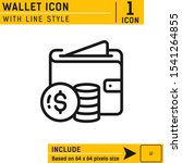 wallet icon with line style...