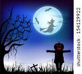 scary halloween night... | Shutterstock .eps vector #154129922