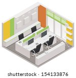 Vector Isometric Office Room...