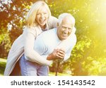 two aged smiling people over... | Shutterstock . vector #154143542