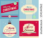 christmas retro style greeting... | Shutterstock .eps vector #154144562