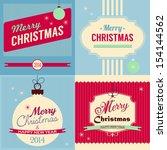 christmas retro style greeting... | Shutterstock .eps vector #154144562