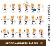 set of happy office man. vector ... | Shutterstock .eps vector #154149086