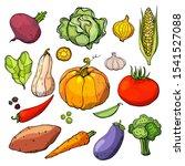 set of hand drawn doodle... | Shutterstock .eps vector #1541527088