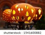 beautiful carved pumpkins put... | Shutterstock . vector #1541600882