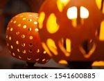 beautiful carved pumpkins put... | Shutterstock . vector #1541600885