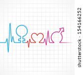 heartbeat make male female and... | Shutterstock .eps vector #154166252