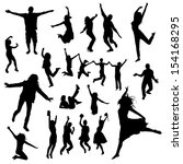 jumping people silhouettes | Shutterstock .eps vector #154168295
