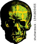 skull with colorful floral...   Shutterstock . vector #1541805455