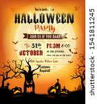 halloween background with scary ... | Shutterstock .eps vector #1541811245