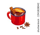 hand drawn red cup of mulled... | Shutterstock .eps vector #1541828042