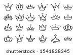 doodle crowns. line art king or ... | Shutterstock .eps vector #1541828345