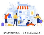 mobile online shopping. people... | Shutterstock .eps vector #1541828615