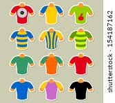 set of multicolored t shirts on ... | Shutterstock . vector #154187162