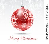 christmas card with red ball in ... | Shutterstock .eps vector #154192838