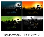 set of four halloween posters | Shutterstock .eps vector #154193912