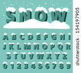 retro type font with snow ... | Shutterstock .eps vector #154197905