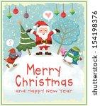 vintage christmas poster design ... | Shutterstock .eps vector #154198376