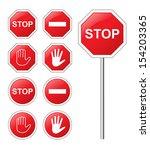 traffic sign stop set.   Shutterstock .eps vector #154203365