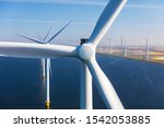 Aerial View Of Wind Turbines At ...