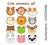 cute animals set | Shutterstock .eps vector #154205486