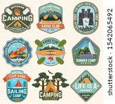 set of summer camp badges ... | Shutterstock .eps vector #1542065492
