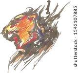 Aggressive Colorful Lion Head...