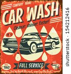 Retro Car Wash Sign. Vector...