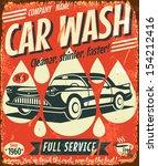 Retro Car Wash Sign. Vector...