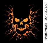 black skull with crack hole | Shutterstock .eps vector #1542169178