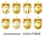 gold christmas ornament set... | Shutterstock .eps vector #1542175808