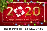 realistic 2020 golden numbers... | Shutterstock .eps vector #1542189458