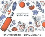 mulled wine cooking  winter hot ... | Shutterstock .eps vector #1542280148