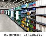 Water Bottles On Shelf In...