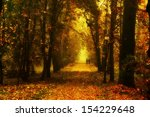 beautiful autumn park with red... | Shutterstock . vector #154229648