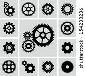 gear wheels icons set | Shutterstock .eps vector #154233236