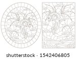 set of contour illustrations in ... | Shutterstock .eps vector #1542406805